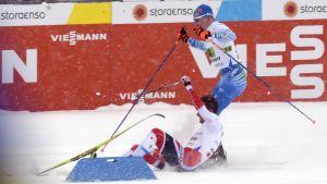 Iivo Niskanen och Emil Iversen krockade på upploppet av sprintstafetten.