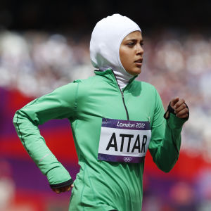 Sarah Attar springer 800 meter i hijab i OS i London.