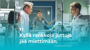 Syke-sairaalasarjan hoitohuone ja henkilökuntaa.