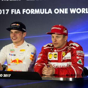 Valtteri Bottas, Max Verstappen och Kimi Räikkönen under en presskonferens efter loppet.