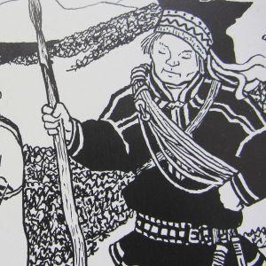 Erkki Tanttun kuvitusta kirjasta Áhkubiebmu