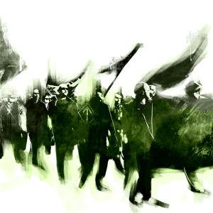 Grafisk framställning av Finska Motståndsrörelsens demonstrationståg.
