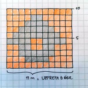 Ett stickmönster föreställande en grå lada mot orange botten.