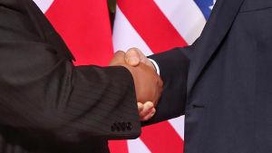 Närbild av Trumps pch Kim Jong-Uns händer när de skakar hand.
