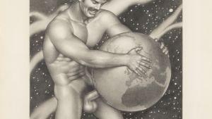 Detalj av Tom of Finland-teckning från 1976.