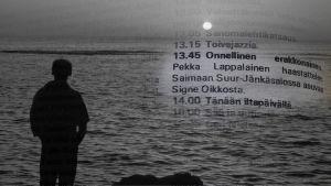 Yksinäinen nainen rannalla. Yhdistetty kuva Antenni-lehden 1971 ohjelmatiedoista.