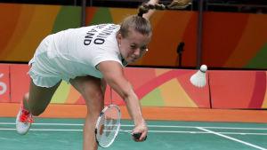Nanna Vainio hade det kämpigt i den första matchen mot världsettan från Spanien.