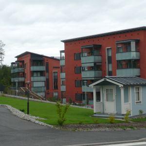 Nya våningshus med lekstuga i förgrunden