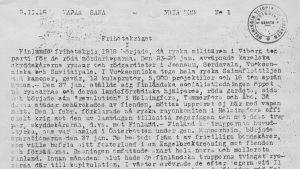"""Första numret av den underjordiska bulletinen """"Fria Ord"""" publicerades 9.2.1918."""
