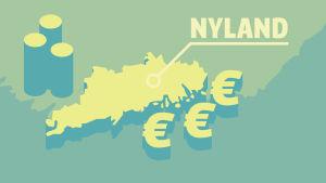 Karta över Landskapet Nyland och eurosymboler