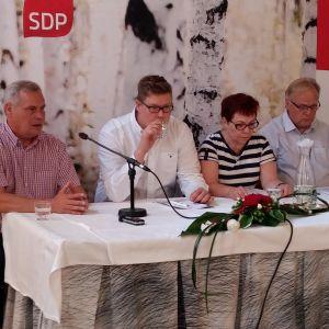 Antti Rinne, Antti Lindtman, Merja Mäkisalo-Ropponen, Lauri Ihalainen i Kuopio 10.8.2016.