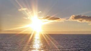 Aurinko paistaa meren yllä.