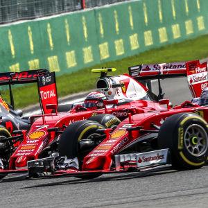 Max Verstappen, Kimi Räikkönen, Sebastian Vettel, Spa 2016.