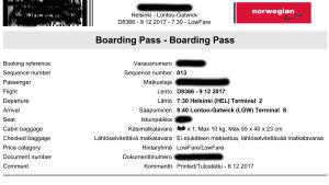 Ett boardingkort.
