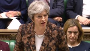 12 mars: Theresa May uttalar sig om attacken på Sergei och Julia Skripal.