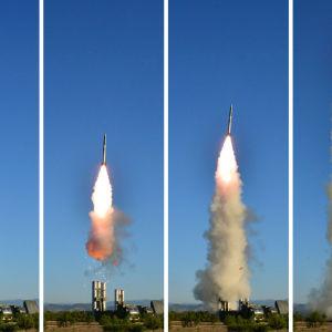 Den nordkoreanska nyhetsbyrån KCNA gav ut bilder av den nya luftvärnsmissil som Nordkorea säger sig ha utvecklat