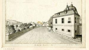 Akademitorget i Åbo 1795. Lavering av Carl Peter Hällström. Till höger akademibyggnaderna med domkyrkan strax bakom.