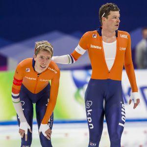 Jorrit Bergsma och Sven Kramer på OS-isen.