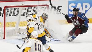 Nathan MacKinnon satte in två mål mot Pekka Rinne.