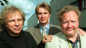 Jari Tervo ja Tommy Tabermann ja Peter Nyman TV 1:n syysinfossa 1998.
