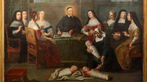 Rose-Marie Peaken väitöskirjan kansimaalaus. 1600-luvun Pariisista: Pappi ja Laupeuden tyttäret -nunnajärjestöä