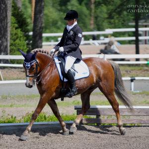 Johanna Lindblad på sin häst Kain Aapeli.