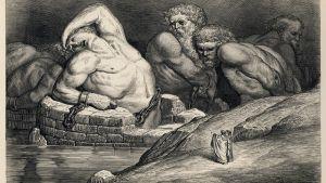 I Dantes inferno har titanerna det inte roligt. Gustave Doré: Dante Alighieri/Inferno/plate 65