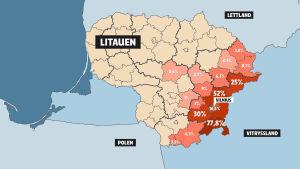 Karta över var i Litauen det talas polska