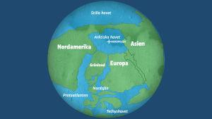 Jorden och kontinentalplattorna för tiotals miljoner år sedan