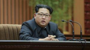 Nordkoreas ledare Kim Jong-un i Pyongyang den 19 februari.