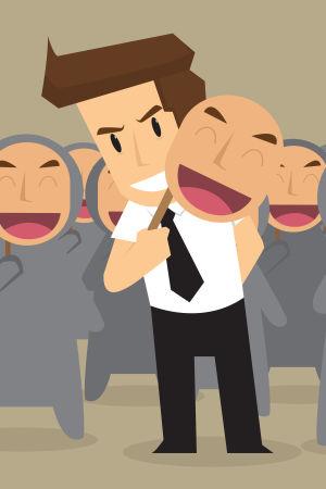 Piirroskuva jossa mies poistaa naamion ja taustalla hahmoja samanlaisissa naamioissa