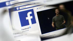 Facebook-ikonen med ett foto på Mark Zuckerberg.