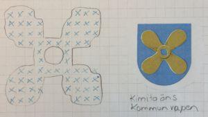 Stickmönster för Kimito kommunvapen