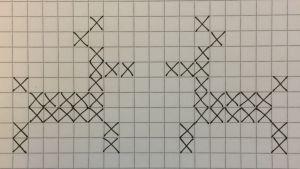 Renar ritade med svarta kryss på rutigt papper