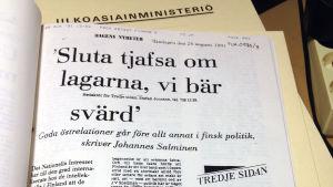 Ur utrikesministeriets tidigare hemligstämplade arkiv från 1991.