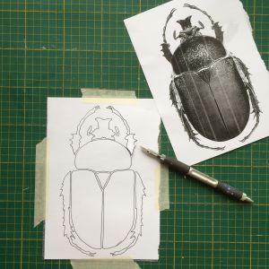 Vitt papper med ritad förenklad skalbagge vars konturer skärs ut med skalpell.