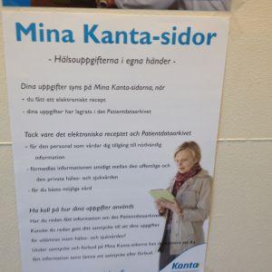 En affisch som visar information om patientdataarkivet Kanta.