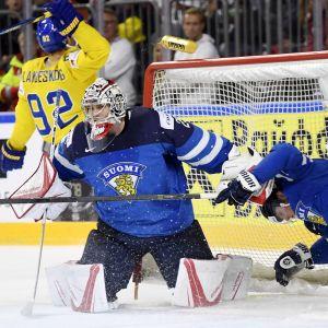 Kaos vid det finska målet.