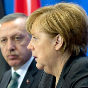 Turkiets president Recep Tayyip Erdoğan och Tysklands förbundskansler Angela Merkel under Erdoğans besök i Tyskland 2014.