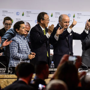 Francois Hollande, Ban Ki-moon,Laurent Fabius, Christiana Figueres