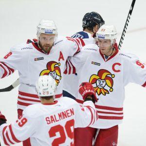 Jesse Joensuu (till vänster) gjorde Jokerits andra mål.