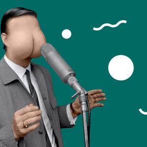 Stand up -koomikko, jolla on naaman tilalla takamus.