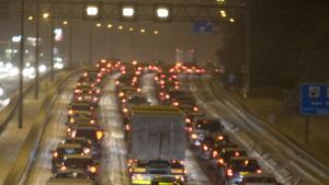Trafikstockning i Nederländerna på A9 nära Amsterdam i januari 2010.