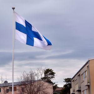 Finlands flagga i flaggstången.