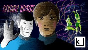 Kuvituskuva Star Trek -artikkeliin. Mr. Spock, kapteeni Kirk ja vihreitä orjanaisia piirroshahmoina.