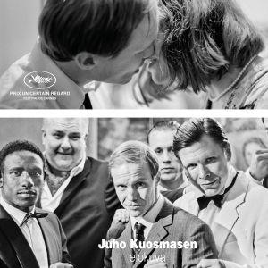 Hymyilevä mies - filmplanschen på vilken huvudpersonerna tittar rakt in i kameran.
