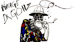 Ralph Steadmanin kuva Mr. Gonzosta. Dokumenttielokuvasta For No Good Reason.