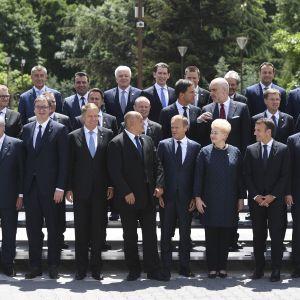 Familje foto på EU-ledare.
