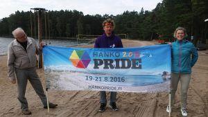 Kyrkoherde Anders Laxell, företagaren Anders Augustsson och producenten Titti Myhrberg engagerar sig i Hangös första festival för sexuella minoriteter.