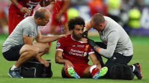 Mohamed Salah skadades i Champions League-finalen.